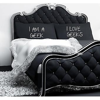 Eu sunt un geek I Love geeks negru fețe de pernă