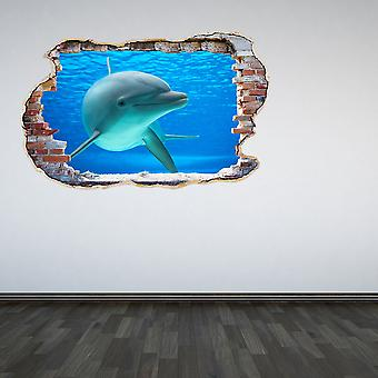 Full Colour Dolphin Smashed Wall 3D Effect Wall Sticker