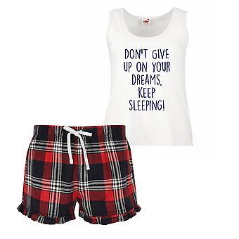 Nicht geben, auf Ihre Träume zu halten schlafen Damen Tartan Rüschen kurze Pyjama Set rot blau oder grün blau