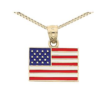 14K Yellow Gold American Flag Pendant Necklace with Chain