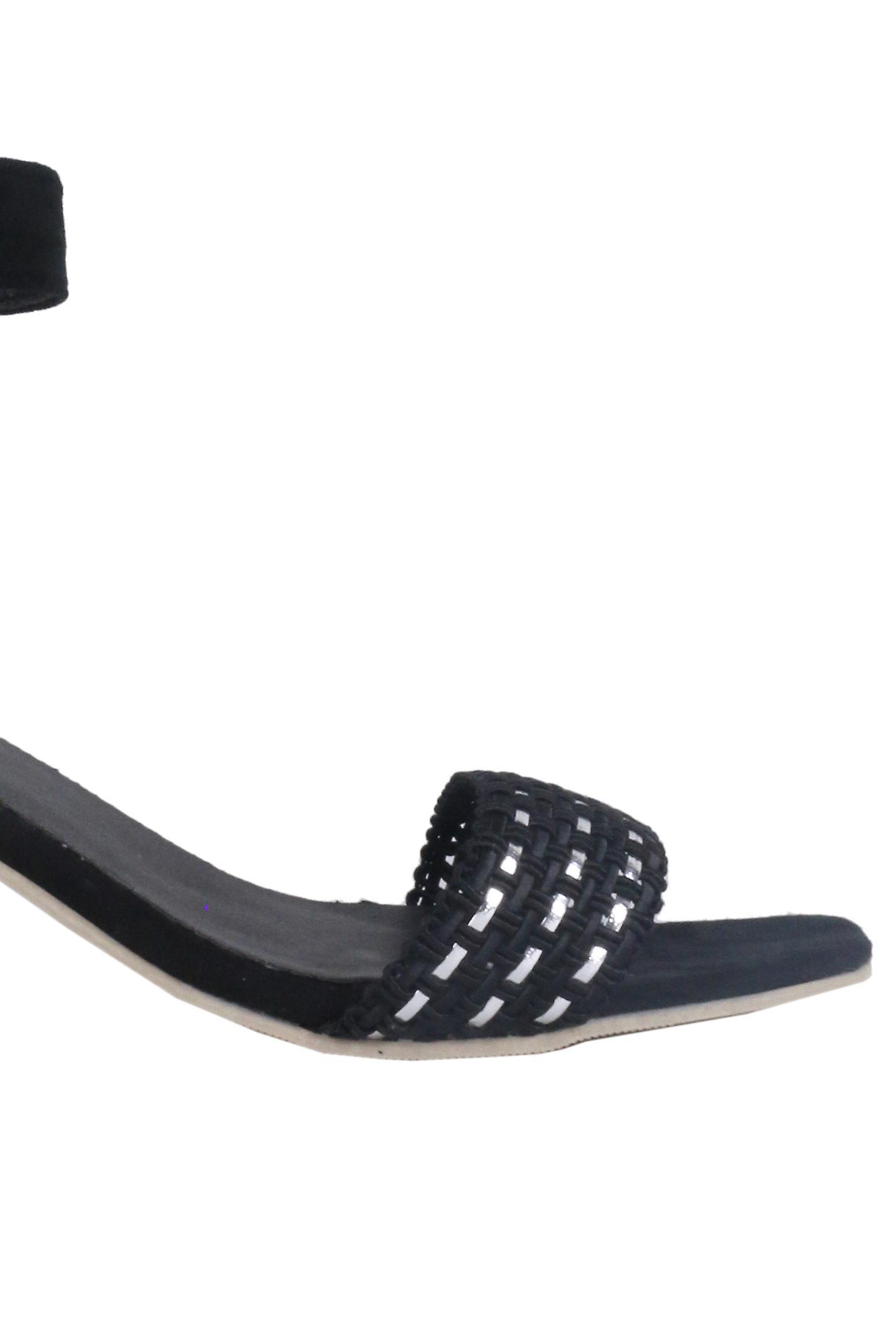 Lovemystyle Black Block Heel Sandal With Silver Weave Design