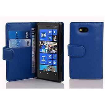 Cadorabo tapauksessa Nokia Lumia 820 KING BLUE - Matkapuhelin tapauksessa jäsennelty faux nahka seistä toiminto ja kortti osasto - Case Cover suojakotelo tapauksessa kirja taitto tyyli