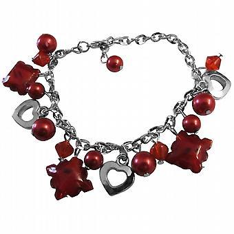 Notevole fascino rosso bracciale cristalli rosso perla rosso cuore gioielli