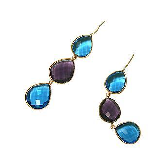 Gemshine earrings purple amethyst blue topaz drop 925 silver or gold plated