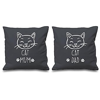 Cat Mum Cat Dad Grey Cushion Covers 16