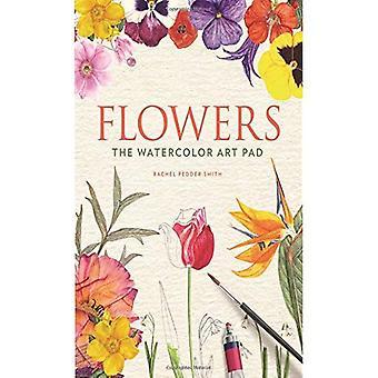 Blomster: Akvarel kunst puden