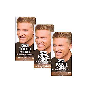 3 x toque de tratamento de cabelos grisalhos Mens cor - marrom cinzento T35