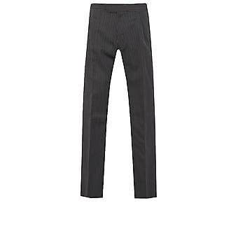 Doball Mens zwart en grijs gestreepte ochtend pak bruiloft broek Fit Regular wol mix