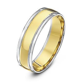 Star Wedding Rings 18ct White & Yellow Gold Court Shape 6mm Wedding Ring