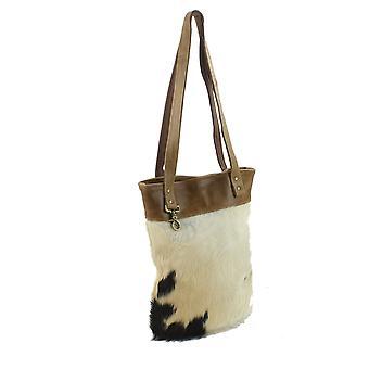Hair-On Hide and Genuine Leather Trim Boho Shoulder Tote Bag