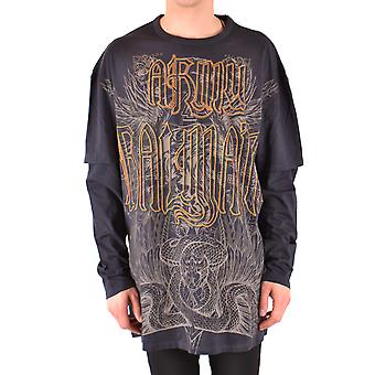 Balmain Ezbc005024 Men's Black Cotton Sweater