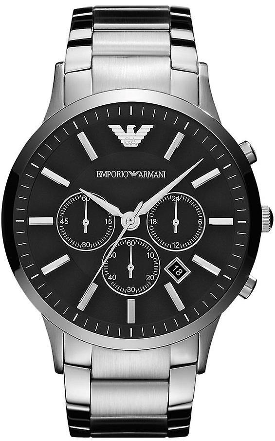 Emporio Armani Ar2460 Mens Oversized Black Face Steel Watch