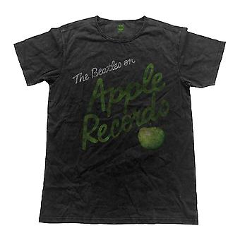 Die Beatles T Shirt Apple Records Bandlogo offiziellen Mens Vintage Finish Black