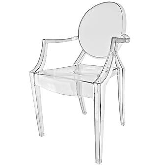 Fusion Living Crystal kirkas Ghost Style Plastic Louis Noja tuoli