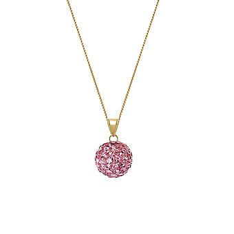 Eternal Collection Tarantella Pink Velvet Diamante Gold Tone Pendant Necklace