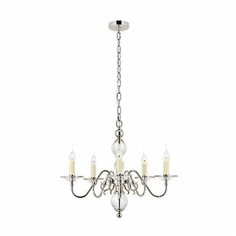5 Light Multi Arm Ceiling Pendant Chandelier Polished Nickel, Clear Crystal