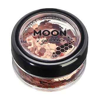 Classic Chunky Glitter by Moon Glitter - 100% Cosmetic Glitter for Face, Body, Nails, Hair and Lips - 3g - Cuivre Bronze