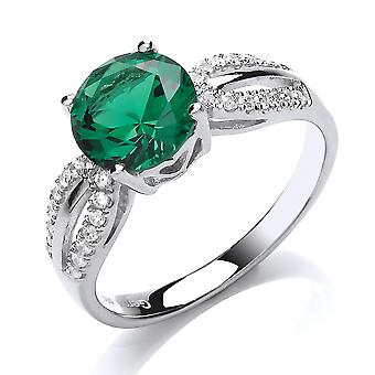 Jewelco London Ladies Rhodium Plated Silver Green Round Brilliant Cubic Zirconia Shoulder Set Solitaire Engagement Ring