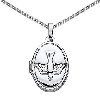 Jewelco London Rhodium Plated Sterling Silver Oval Bird Locket Necklace 18 inch