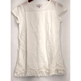 OSO Casuals Top Short Sleeve Scalloped Hem Double Layer Tunic White A424332