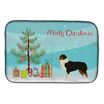 Australian Shepherd Christmas Tree Dish Drying Mat