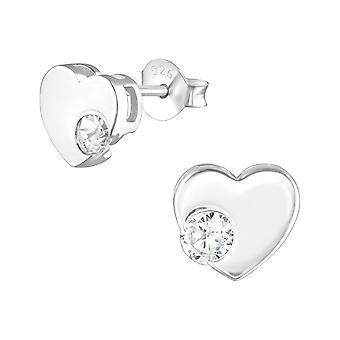 sydän - 925 sterlinghopea kuutio zirkonia korva nastat - W36787x