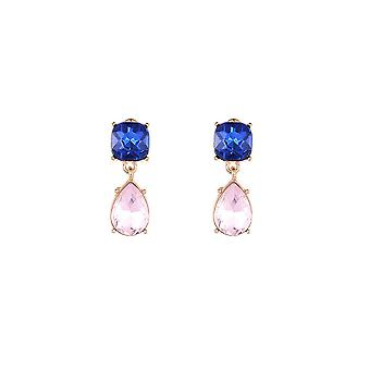 Blue and Pink Drop Earrings