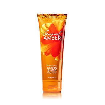 Bath & Body Works Sensual Amber Ultra Shea Body Cream 8 oz / 226 g (2 Pack)