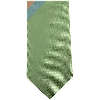 Gene Meyer New Bracknell Diagonal Striped Tie - Green/Yellow/Red