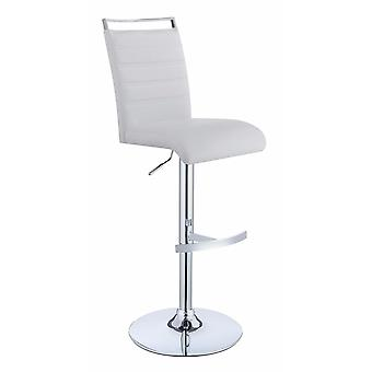 Elegant modern adjustable bar stool, white and silver