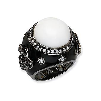 Black plated 925 Sterling Silver Enamel Simulated White Agate and Cubic Zirconia Ring Jewelry Gifts for Women - Ring Siz