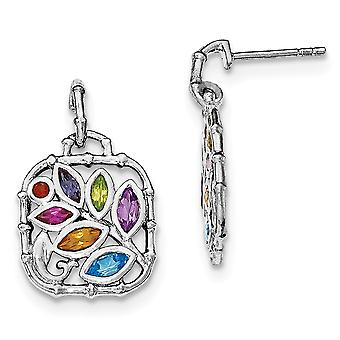 925 Sterling Silver Multi Gemstone Post Long Drop Dangle Earrings Jewelry Gifts for Women - .78 cwt