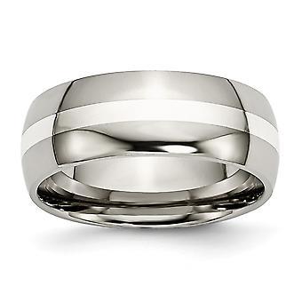 Titan 925 Sterling Silber gravierbare Inlay 8mm poliert Band Schmuck Geschenke für Frauen - Ring Größe: 6 bis 14