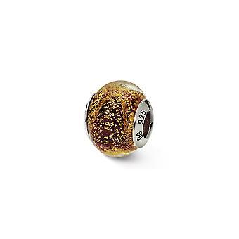 925 Sterling Silber italienischen Murano Glas Reflexionen Gold rot italienischen Murano Perle Anhänger Anhänger Halskette Schmuck Geschenke f