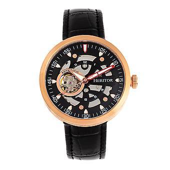 Heritor Automatic Jasper Skeleton Leather-Band Watch - Rose Gold/Black