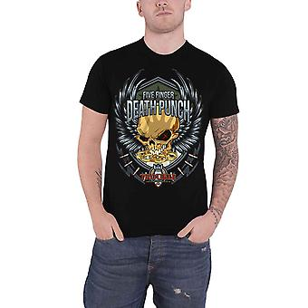 Five Finger Death Punch T Shirt Trouble Band Logo new Official Mens Black
