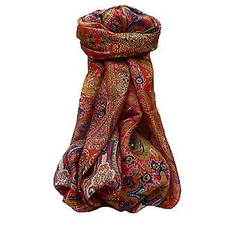 التوت الحرير التقليدي وشاح طويل Palekar سكارليت من قبل الباشمينا والحرير