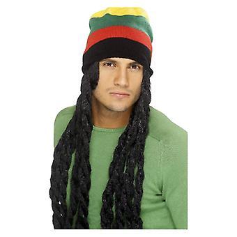 Rasta Hat, zwart, met lange Deadlocks Fancy Dress accessoire