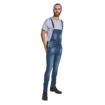 Whitefield mens super skinny denim salopette