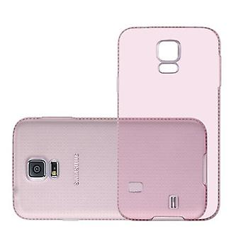 Cadorabo Hülle für Samsung Galaxy S5 / S5 NEO - Hülle in TRANSPARENT ROSA – Handyhülle aus TPU Silikon im Strass Design - Silikonhülle Schutzhülle Ultra Slim Soft Back Cover Case Bumper