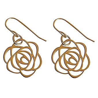 GEMSHINE örhängen ART DECO Rose Flower 925 silver, guldpläterad eller ros