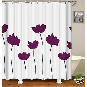 Purple Tulip Drawing Shower Curtain