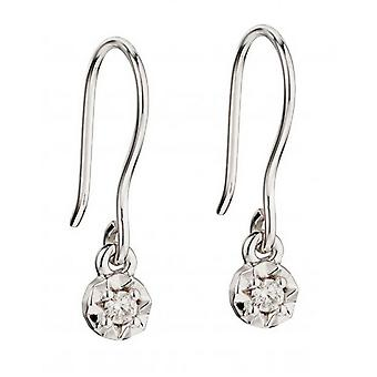 Elements Gold Diamond Illusion Disc Hook Earrings - White Gold/Clear