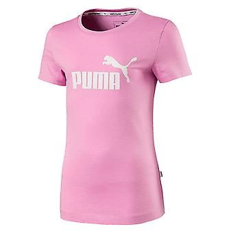 Puma Essentials Logo Kids Girls Sports T-Shirt Tee Pink
