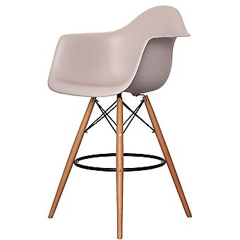 Charles Eames Style Light Grey Plastic Bar Stool With Arms