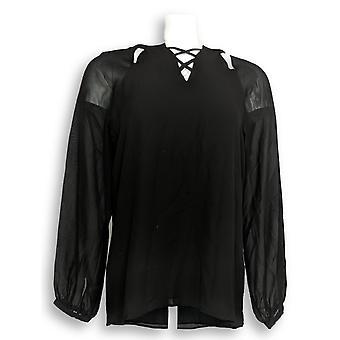 Laurie Felt Women's Top Woven Blouse Lace Up Black A301681