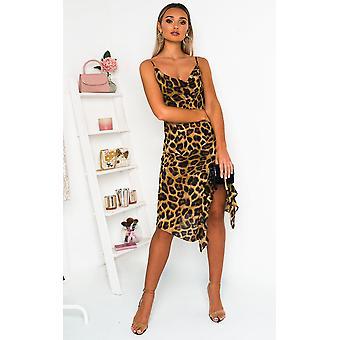 IKRUSH kvinnors Jessie Leopard Print MIDI klänning