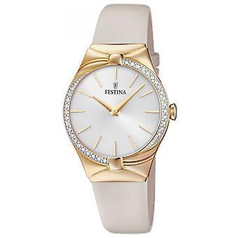 Festina klocka Miss F20389-1 - titta på PVD ringa silver armband läder BEIGE kvinna gul