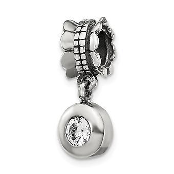 925 Sterling Zilver Gepolijste afwerking Reflecties CZ Kubieke Zirconia Gesimuleerde Diamond Ronde Dangle Bead Charm Hanger Hals