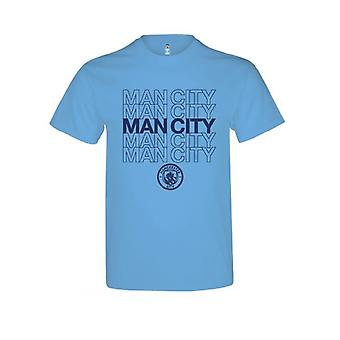 Man City Childrens/Kids Sky Blue T Shirt With Team Logo